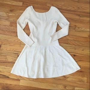 Milly Cream 100% Wool Scoop Back Sweater Dress